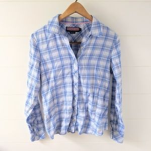 Vineyard Vines Ruffle Back Plaid Button Up